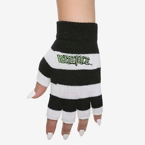 BEETLEJUICE STRIPED FINGERLESS GLOVES NWTs